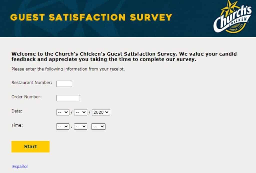 churchs chicken feedback survey